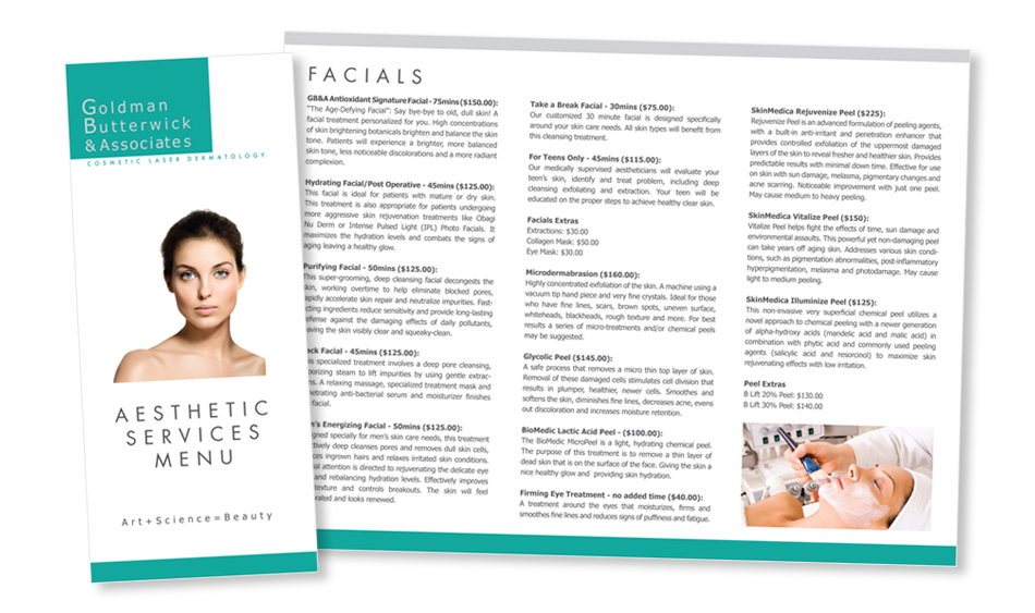 Cosmetic Laser Dermatology Services Menu Brochure Design Sn Diego